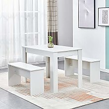 Ansley&HosHo 3 Pieces Dining Room Table and 2