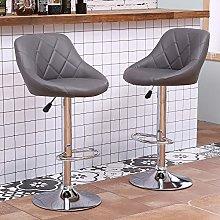 Ansley&HosHo Bar Stool Set of 2 Dark Grey Swivel