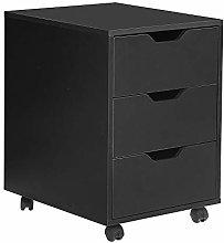 Ansley&HosHo Black 3 Drawer Filing Cabinet Wooden