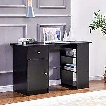 Ansley&HosHo-EU Black Computer Desk with Storage