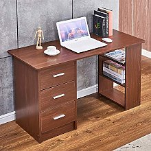 Ansley&HosHo-EU Computer Desk with 3 Drawers and 3