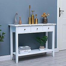 Ansley&HosHo-EU White Console Table with Shelf,