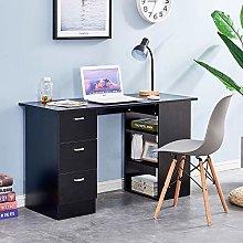 Ansley&HosHo I Shape Black Computer Desk Table
