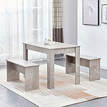 Ansley&HosHo Modern Wooden Dining Room Table and 2
