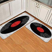 Anti-Fatigue Kitchen Floor Mat Set 2pcs,Gramophone