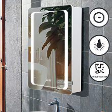 Anti-fog LED Clock Wall Mounted Mirror Cabinet,
