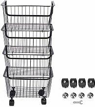 Anti‑Rust Rolling Baskets Iron Basket Cart
