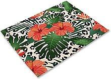 Anti-scalding Table Mats Leopard Print Linen