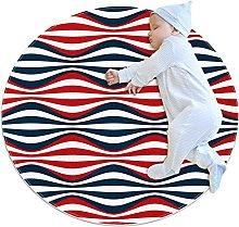 Anti-Slip Area Rug American Stripes Wave Round