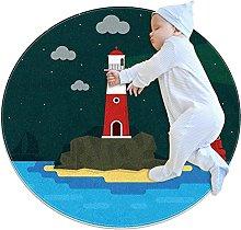 Anti-Slip Area Rug Beach Lighthouse Round Carpet