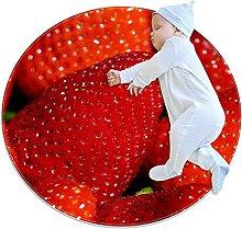 Anti-Slip Area Rug Big Red Strawberries Round