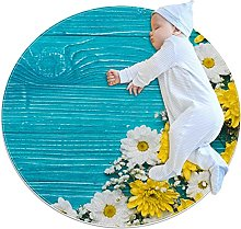 Anti-Slip Area Rug Blue Wooden With Fowers Round