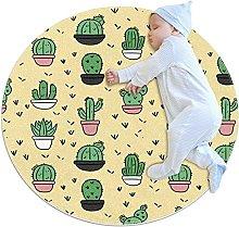 Anti-Slip Area Rug Cartoon Cactus Pot Round Carpet