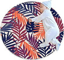 Anti-Slip Area Rug Colorful Palm Leaves Round