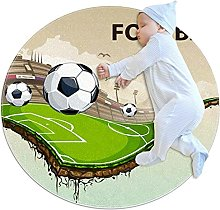Anti-Slip Area Rug Creative Football Round Carpet