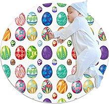 Anti-Slip Area Rug Design With Easter Eggs Round