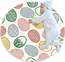 Anti-Slip Area Rug Easter Eggs Pattern With