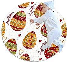 Anti-Slip Area Rug Easter Pattern Design Round