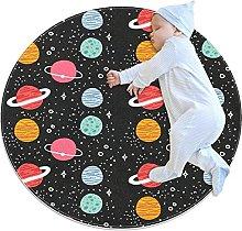 Anti-Slip Area Rug Fantasy Cosmos Planet Round