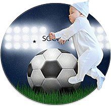 Anti-Slip Area Rug Football Grass Round Carpet
