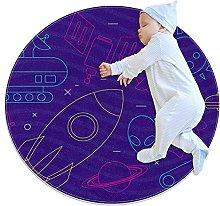 Anti-Slip Area Rug Funky Space Icons Round Carpet