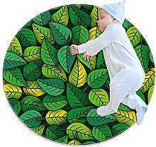 Anti-Slip Area Rug Green Leaves Pattern Round