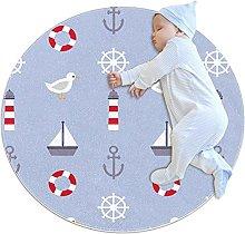 Anti-Slip Area Rug Nautical Pattern Round Carpet