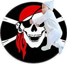 Anti-Slip Area Rug Pirate Funny Skull Round Carpet