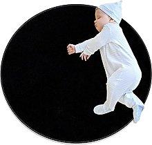 Anti-Slip Area Rug Pure Black Round Carpet