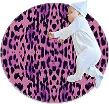 Anti-Slip Area Rug Purple Pink Black Leopard