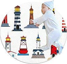 Anti-Slip Area Rug Sea Lighthouse Round Carpet