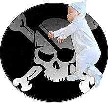 Anti-Slip Area Rug Skull Cranium Pirate Round
