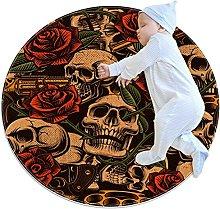 Anti-Slip Area Rug Skull With Rose Vintage Round