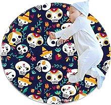 Anti-Slip Area Rug Skulls Pattern Funny Round