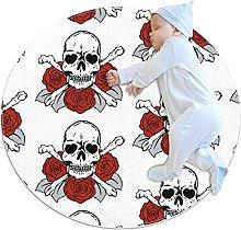 Anti-Slip Area Rug Skulls Roses Pattern Round