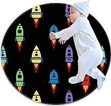 Anti-Slip Area Rug Spaceship Pattern Cartoon Round