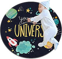 Anti-Slip Area Rug Universe Planets Space Round