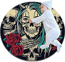 Anti-Slip Area Rug Vintage Skull Rose Round Carpet