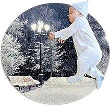 Anti-Slip Area Rug Winter Snow Tree Round Carpet