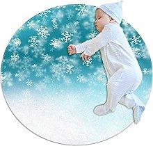 Anti-Slip Area Rug Winter Snowflakes Round Carpet