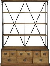 Antique black metal and mango wood 9-drawer shelf