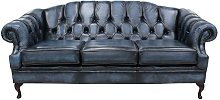 Antique Blue Chesterfield Victoria 3 Seater