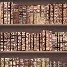 Antique Bookcase Library Bookshelf Wallpaper,