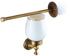 Antique Brass WC Toilet Cleaning Brush + Wall