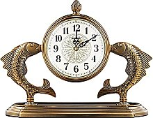 Antique Desk Clock,Vintage Metal Mantel Clock with