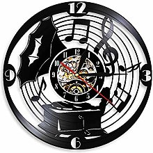 Antique Gramophone Wall Clock with Retro Music