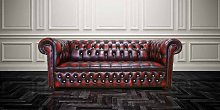 Antique Oxblood Red Chesterfield Crystallized