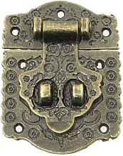 Antique Style Embossing Decorative Hasp Latch Lock with Mini Hinge and Screws for Furniture Cabinet Wood Case Box