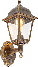 Antique wall lamp gold IP44 with motion detector -