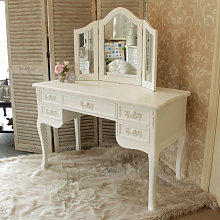Antique White Dressing Table Desk with Triple